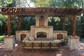 stone fireplace brick trim cedar pergola brick pavers