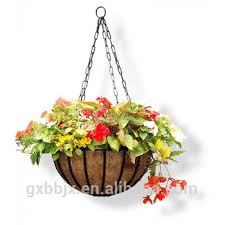 hanging planter basket metal hanging planter basket with coco coir liner 14 inch round wire