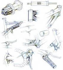 drawn pushbike technical drawing pencil and in color drawn