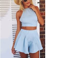 light blue top women s fashion light blue two piece bow blackless halter crop top pleated