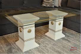 Designer Glastische Esszimmer Designer Säulen Couchtisch Medusa Mäander Wohnzimmertisch Tisch
