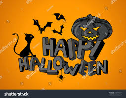 happy halloween pumpkin clipart happy halloween hand lettering bats cat stock vector 156449351