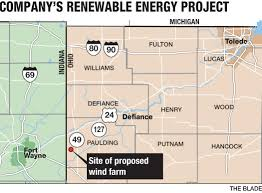 Defiance Ohio Map by Amazon Pins Big Hopes On Area Wind Farm The Blade