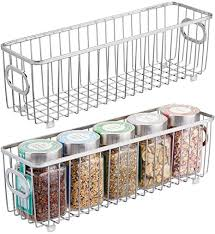how to store food in cupboards mdesign metal farmhouse kitchen pantry food storage organizer basket bin wire grid design for cabinets cupboards shelves countertops holds