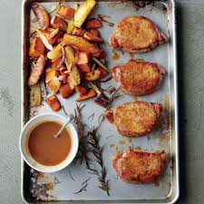 cider dijon pork chops with roasted sweet potatoes and apples