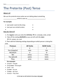 spanish preterite worksheet by dannielle89 teaching resources tes