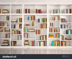 White Library Bookcase by 3d Illustration White Bookshelves Various Colorful Stock