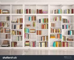 3d illustration white bookshelves various colorful stock