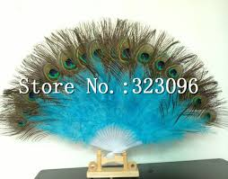 peacock feather fan free shipping 2pcs lot colorful peacock feather fan party feather