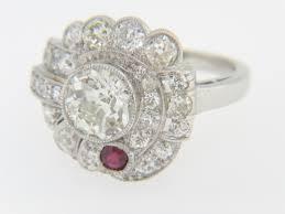 vintage 1920 u0027s art deco 2 75ctw old cut diamond u0026 ruby ring in