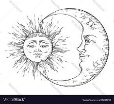 antique sun and crescent moon vector image
