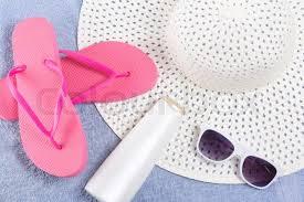 flip flop towel flip flops hat sunglasses blue towel stock photo colourbox