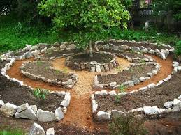 small garden designs landscaping with round row fossil stone