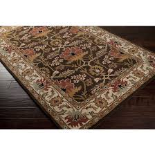 3x5 Area Rug 3x5 Arts Crafts Mission Style William Morris Chocolate Brown
