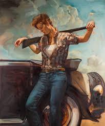 Classic Paint Felice House Art Classic Cowboy Western Women Painting