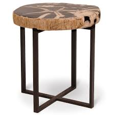 palecek black petrified wood accent table large pk 6054 79