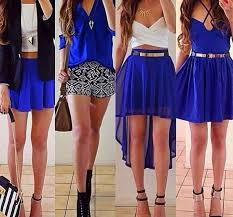 top blue skirt blue high heels white necklace belt black