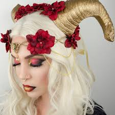 Elven Halloween Costume Elven Crown Gold Red Halloween Costume Headdress