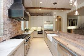 Kitchen With Brick Backsplash Exposed Brick Wall Contemporary Kitchen Pinney Designs