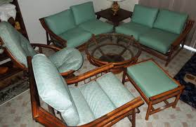 1960s vintage bamboo u0026 vinyl retro living room furniture set for