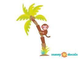 palm tree fabric wall decal with monkey jungle tree decal safari
