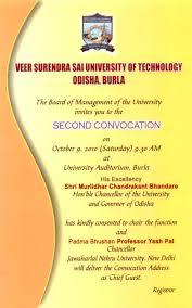Inauguration Invitation Card Sample Convocation Vssut Org