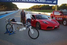 ferrari bicycle 207 mph rocket powered bicycle whips ferrari f430 in drag race