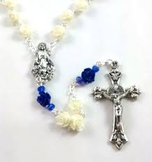 white rosary white blue bead rosary