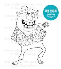 coloring book silly monsters cute whimsical monsters