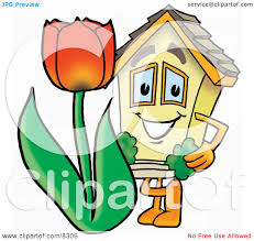 clipart picture of a house mascot cartoon character with a red