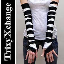 Black White Striped Halloween Costume Trixy Xchange Black White Striped Mummy Bandage Fingerless