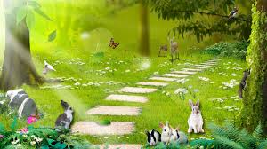Flowers For Birds And Butterflies - forests rabbits light doves rocks trees fawn enchanted flowers