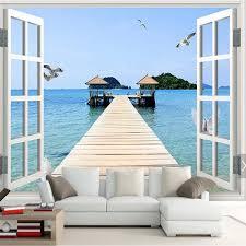 wandbilder fã r schlafzimmer fenster meer strand mew foto wandbild tapete für wohnzimmer papel