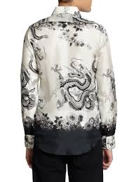 dolce u0026 gabbana dragon print silk button front shirt in white for