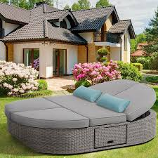 shop ove decors sandra solid cushion gray aluminum wicker daybed