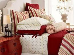bedroom simple christmas bedroom decoration with red bed sheet