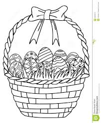 basket of easter eggs outline coloring page stock vector image
