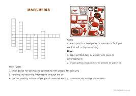 crossword puzzle mass media worksheet free esl printable