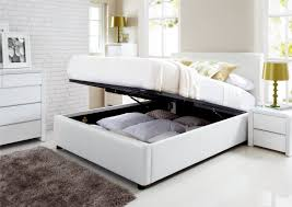Leather Ottoman Storage Leather Bed With Storage Modern Platform Beds Master Bedroom