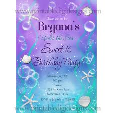 under the sea sweet 16 birthday party custom invitation beach