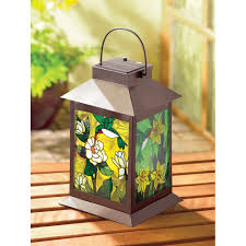 stained glass home decor wholesale solar powered garden lantern floral stained glass panels