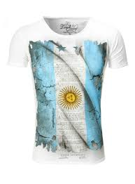 Argentina Flag Photo Largo T Shirt Flag Argentina Crew Neck White