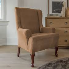 wing chair slipcover surefit jagger stretch wing chair slipcover walmart canada