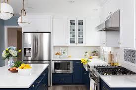 kitchen cabinets white top blue bottom navy blue lower cabinets and white cabinets