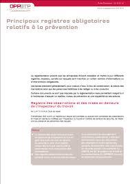 bureau registre des entreprises principaux registres obligatoires relatifs à la prévention