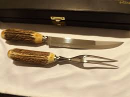 xx kitchen knives vintage stock antler handle carving set by xx from