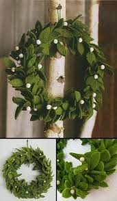 green felt wreath with mistletoe accents felt christmas wreath