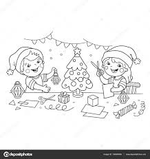 coloring page outline of children make paper christmas lanterns