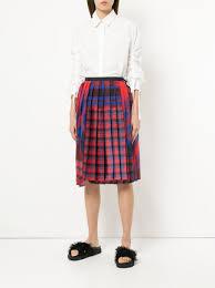 plaid skirt sacai pleated plaid skirt farfetch