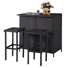 Bar Height Patio Furniture Sets - amazon com tangkula 3pcs rattan wicker bar set patio outdoor